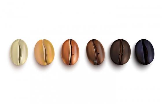 烘焙咖啡豆的6个不同的颜色变化过程图片免抠素材