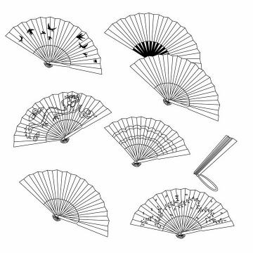 各种黑白色折扇扇子png图片免抠矢量素材