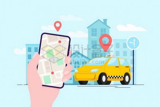 用手机打车APP叫出租车示意图扁平插画png图片免抠矢量素材