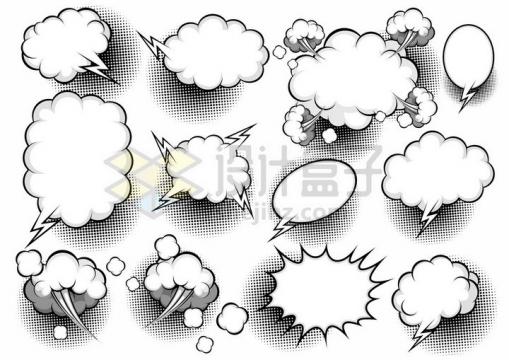 各种漫画风格爆炸贴对话框手绘插画png图片免抠矢量素材