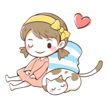 手绘可爱卡通女孩和猫咪图片免抠矢量素材