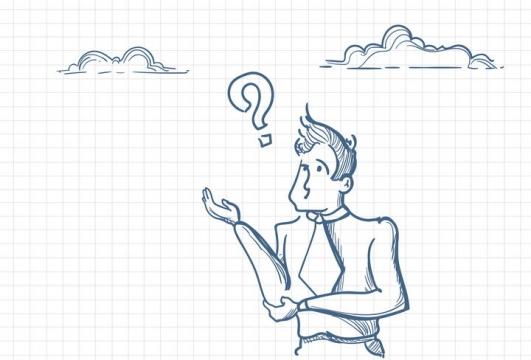 圆珠笔画涂鸦风格产生问号的商务人士职场人际交往配图图片免抠矢量素材