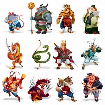 卡通古代武将风格十二生肖排序png图片免抠矢量素材