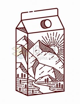 抽象线条牛奶盒子上的高山森林手绘插画png图片免抠矢量素材