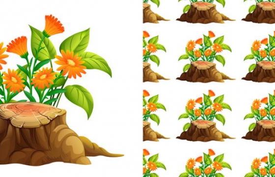 卡通风格树桩和盛开的鲜花图片免抠素材