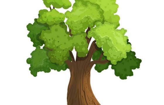 一棵手绘风格的郁郁葱葱大树图片免抠素材