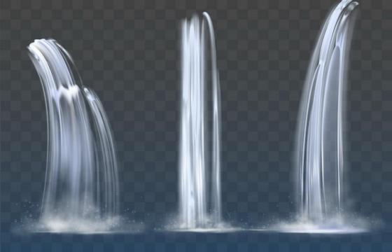 3款瀑布流水效果图片免抠矢量素材