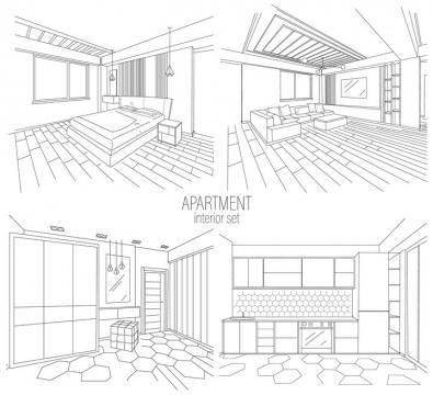 4款线条卧室客厅卫生间厨房等房间装修简笔画图片免抠矢量素材