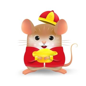 身穿中国传统服装的卡通小老鼠鼠年快乐图片免抠矢量图素材