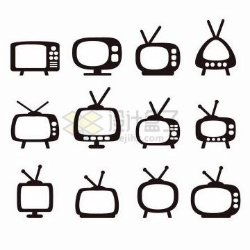 12款黑白色可爱卡通复古电视机png图片免抠矢量素材