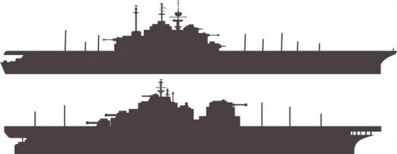 两艘航空母舰侧视图军舰剪影图片免抠素材