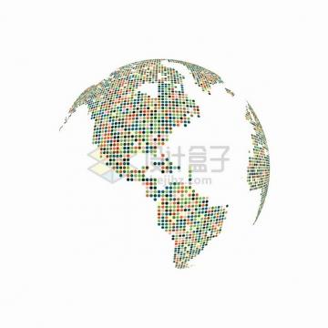 彩色圆点组成的地球模型图案png图片素材