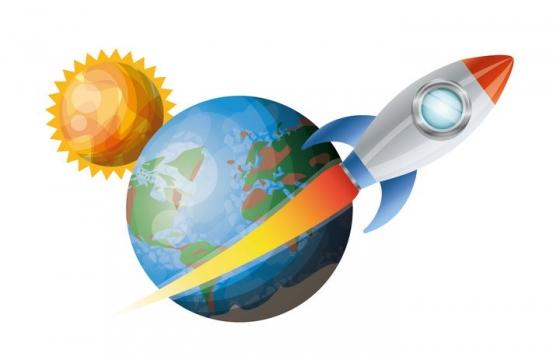 创意在地球外飞行的卡通小火箭免抠矢量图片素材