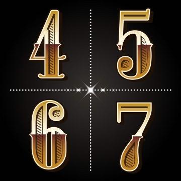 金色镂空风格数字4567字体图片免扣素材