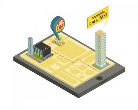 2.5D效果手机上立体地图打车服务示意图图片免抠素材