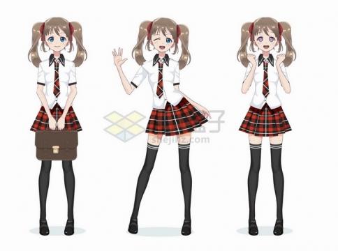 大长腿格子裙子学生装动漫日式漫画卡通美少女png图片免抠矢量素材