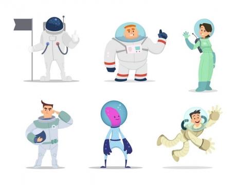 6款可爱卡通风格宇航员航天员免扣图片素材