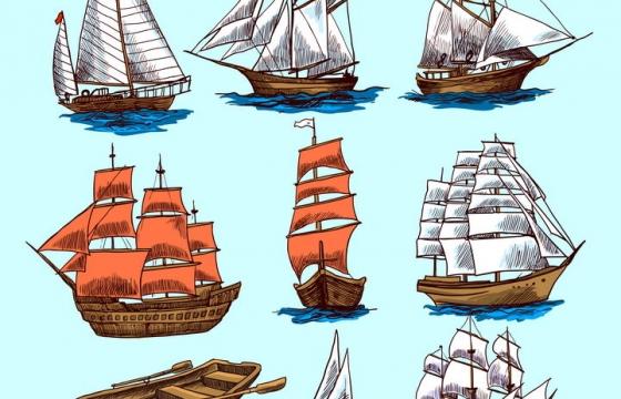 9款彩色手绘插画风格帆船船舶图片免抠素材