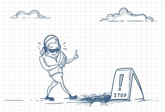 圆珠笔画涂鸦风格只顾看手机而没看到前面有坑的低头族职场人际交往配图图片免抠矢量素材