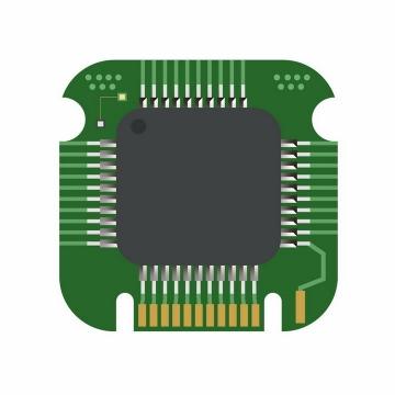 绿色PCB印刷电路板集成电路CPU处理器设计png图片免抠ai矢量素材