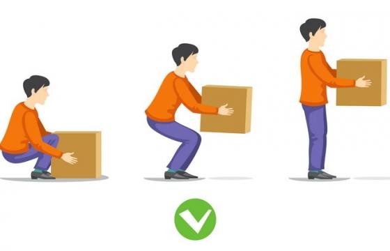 正确的下蹲弯腰搬东西姿势流程图图片免抠素材