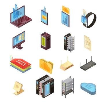 16款2.5D效果云计算服务设备图片免抠素材