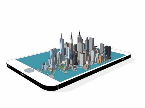 手机上的立体城市建筑png图片免抠矢量素材