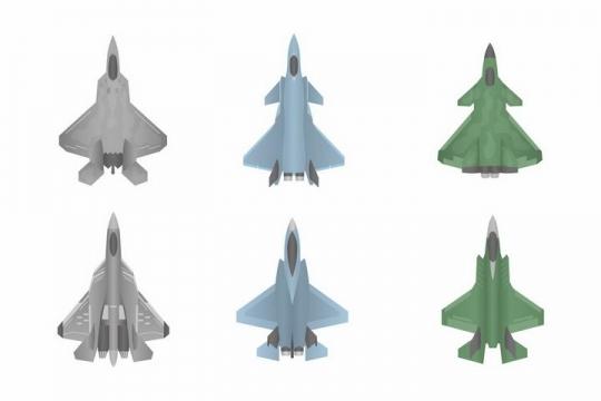 俯视视角的F22/F35/J20歼20第四代隐形战机战斗飞机png图片免抠矢量素材