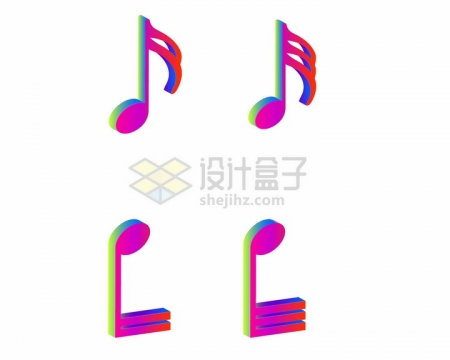 4款彩色音乐立体八分音符符号png图片免抠素材
