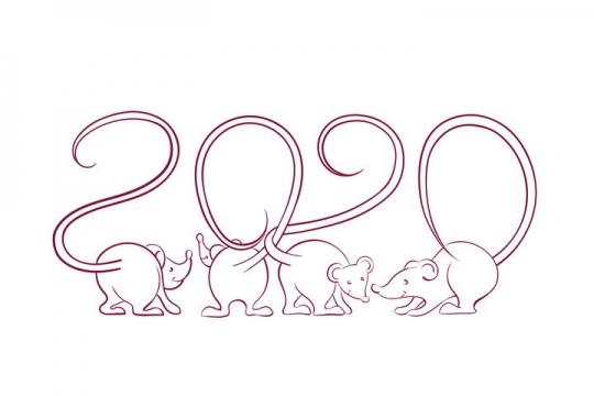 创意线条老鼠组成的2020年鼠年艺术字体图片免抠矢量图素材