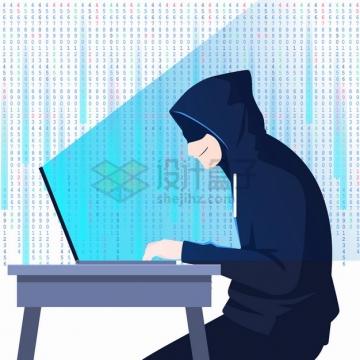 卡通黑客坐在电脑面前使用电脑png图片素材