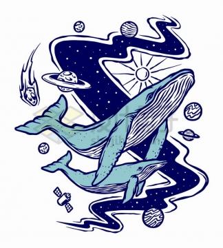 抽象宇宙银河星球和鲸鱼手绘插画png图片免抠矢量素材