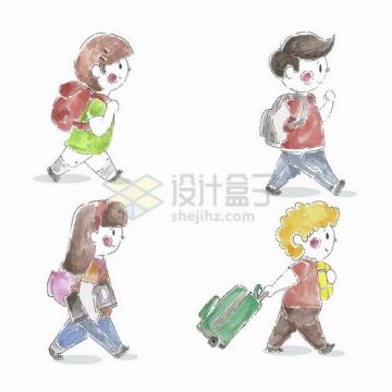 4个背着书包上学的卡通手绘涂鸦学生png图片免抠矢量素材