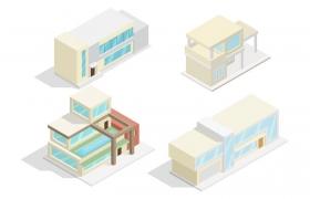 4款清爽的卡通风格城市建筑别墅大楼图片免抠矢量图素材