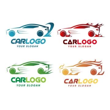 4款彩色汽车轮廓线条logo设计方案png图片免抠矢量素材