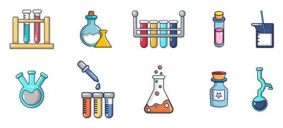 10款可爱风格化学实验用品图标免扣图片素材
