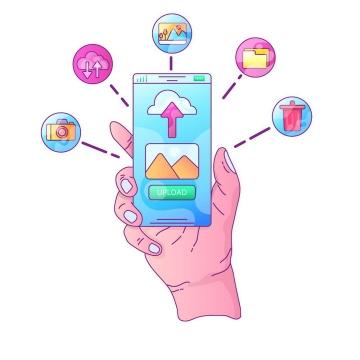 手绘风格手机上的各种APP应用手机操作使用示意图图片免抠素材
