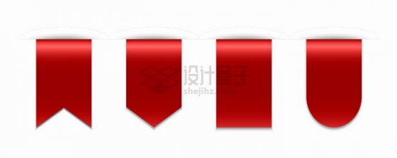 4款红色收藏标签png图片免抠矢量素材