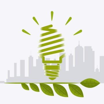 灰色的城市剪影和抽象绿色灯泡节能环保图片免抠素材