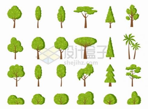 24款卡通树木大树绿树灌木丛png图片素材