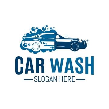 卡通风格蓝白色汽车洗车店logo设计方案png图片免抠矢量素材