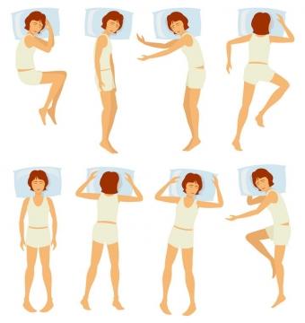 8款卡通美女睡姿睡觉姿势图片免抠素材
