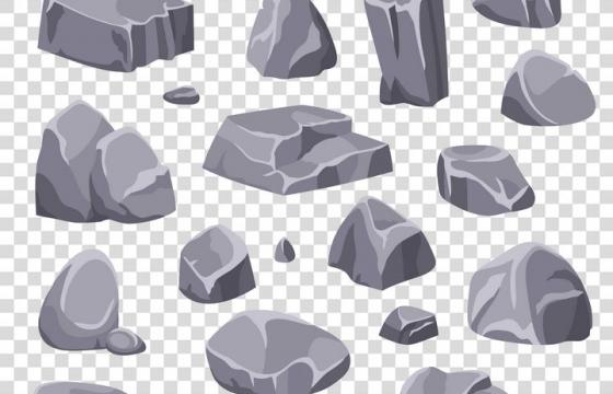 各种卡通漫画风格的石头石块图片免抠矢量素材