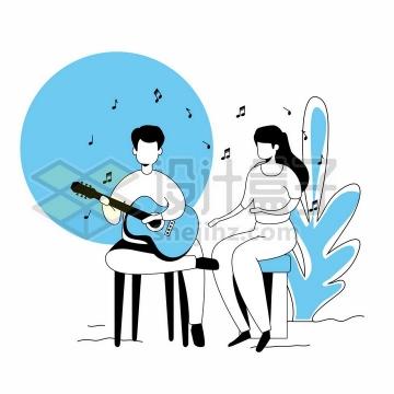 为女朋友弹奏吉他的男孩手绘线条插画png图片免抠矢量素材