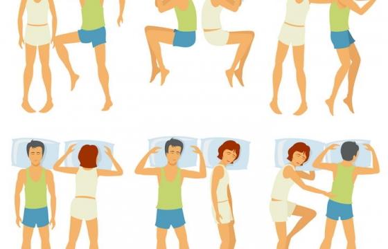 6款卡通情侣睡姿睡觉姿势图片免抠素材