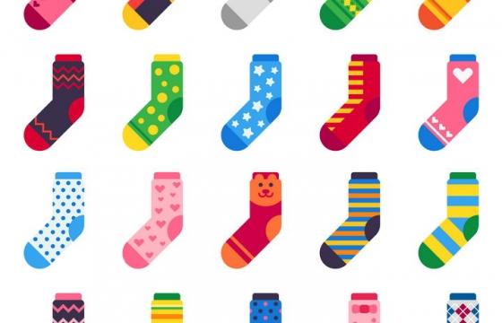20款扁平化彩色袜子图案图片免抠矢量素材