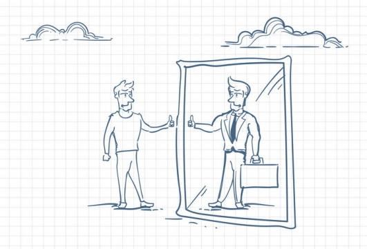 圆珠笔画涂鸦风格对着镜子竖大拇指职场人际交往配图图片免抠矢量素材