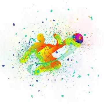 涂鸦泼墨风格足球运动员996189png图片素材