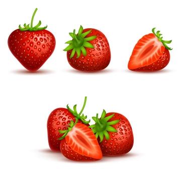 逼真切开的草莓美味水果图片免抠素材