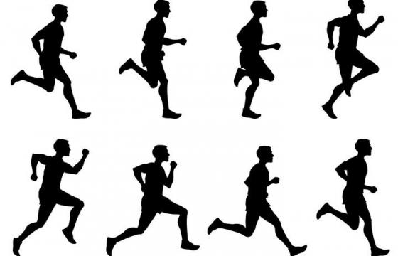 正在连续奔跑的男人剪影免扣图片素材